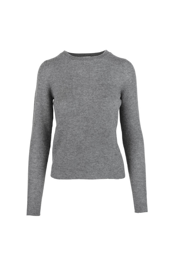 Le Kasha Dublin Mid-Gray Cashmere Fitted Sweater