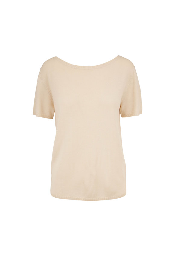 Sally LaPointe Cream Merino Wool & Silk & Cashmere Bateau Sweater