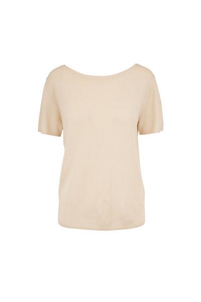 Sally LaPointe - Cream Merino Wool & Silk & Cashmere Bateau Sweater