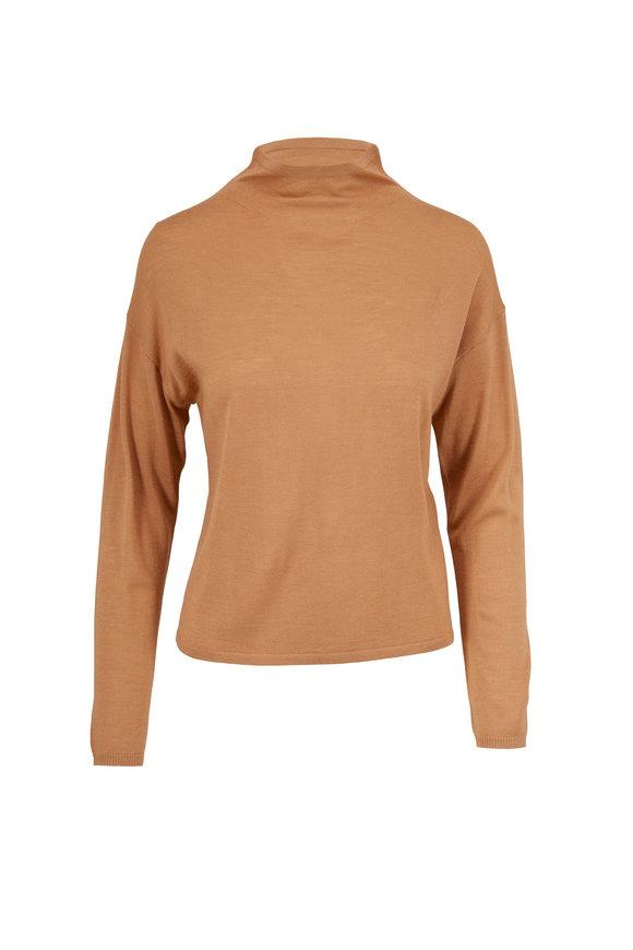 Sally LaPointe Camel Wool, Silk & Cashmere Mockneck Sweater