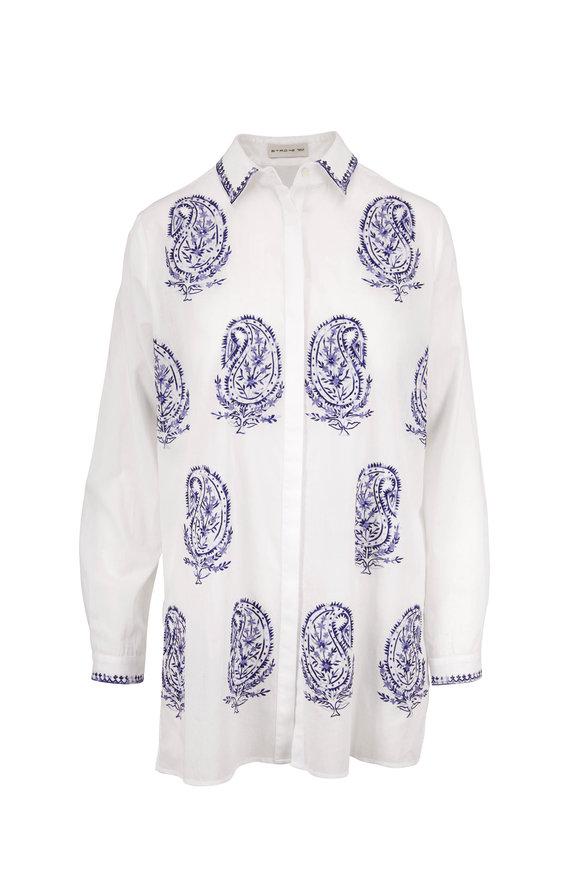 Etro White & Navy Cotton Paisley Embroidered Tunic