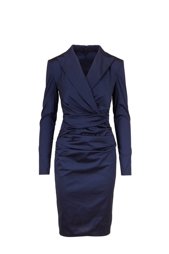 Talbot Runhof Bonka1 Navy Blue Satin Ruched Long Sleeve Dress
