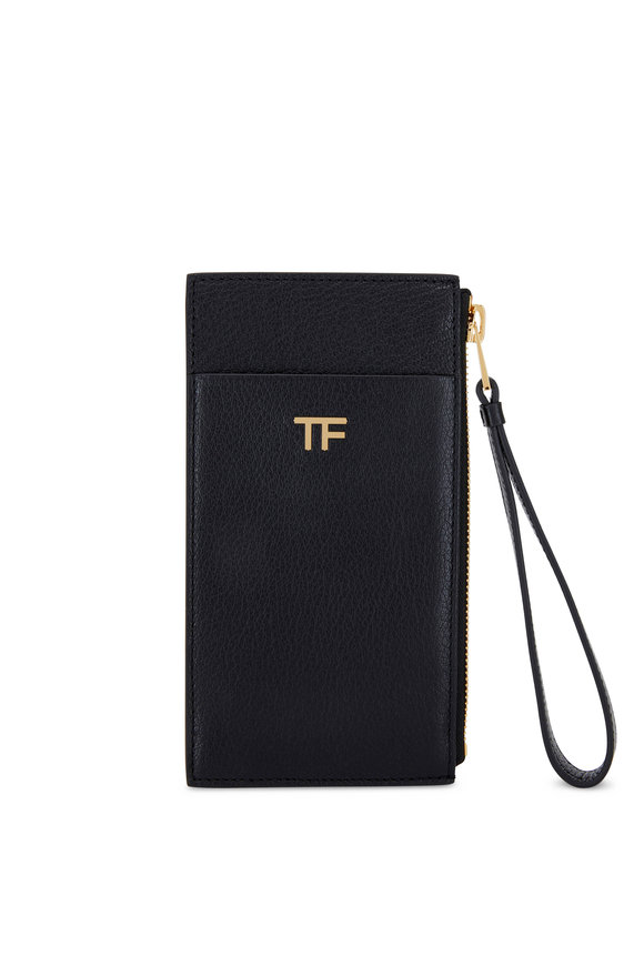 Tom Ford TF Black Grained Leather Wristlet