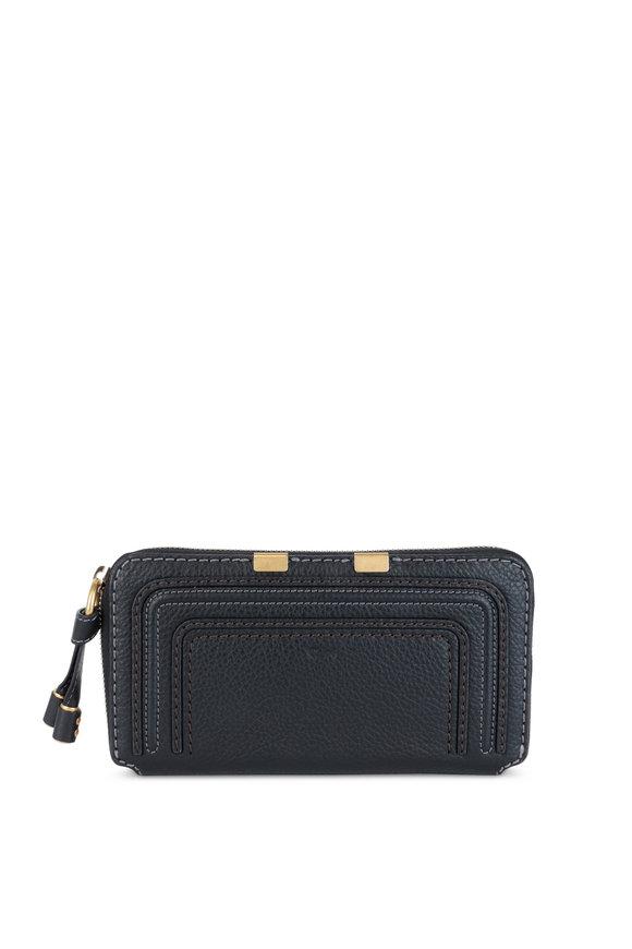 Chloé Marcie Black Leather Continental Zip-Around Wallet