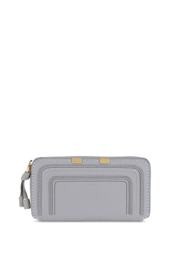 Chloé Marcie Gray Leather Continental Zip-Around Wallet