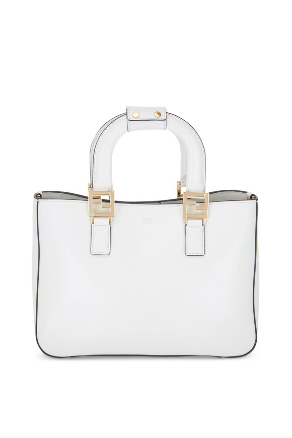 Fendi White Leather Small Tote Bag