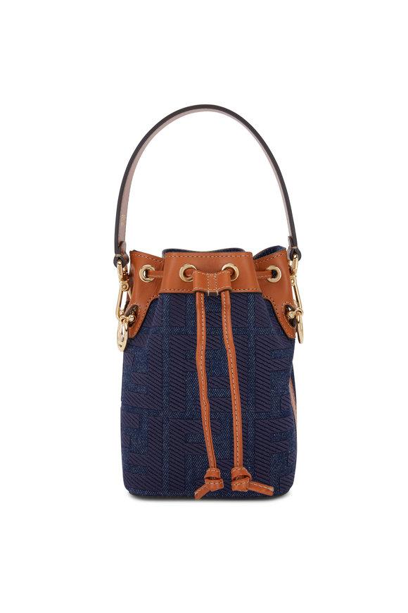Fendi Mon Tresor FF Embossed Denim Mini Bucket Bag