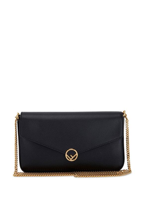 Fendi Black Vitello Detachable Pouches Chain Wallet