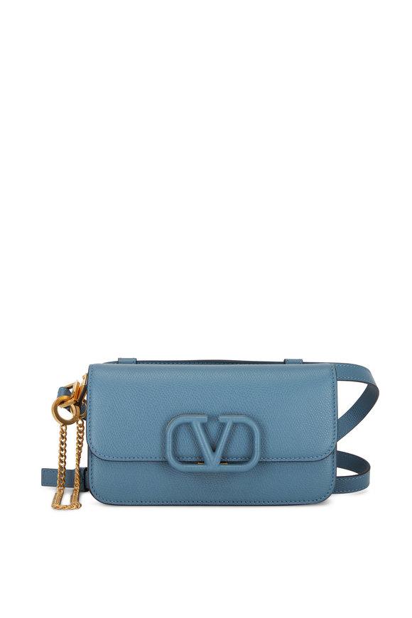 Valentino Garavani VSling Blue Grained Leather Belt Bag