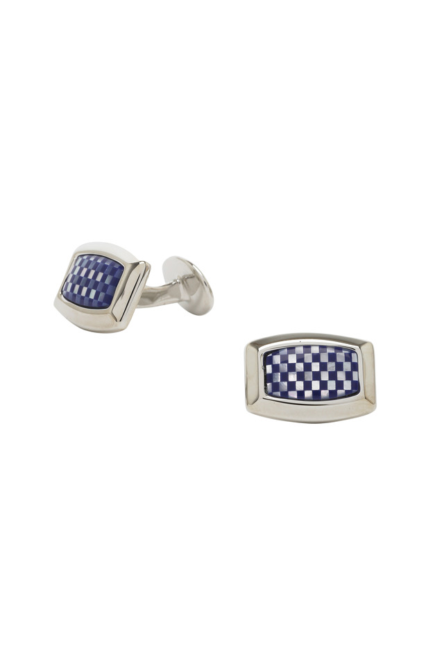 Sterling Silver Checkerboard Cuff Links