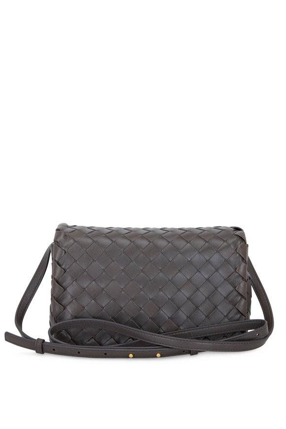 Bottega Veneta Graphite Interciatto Small Crossbody Bag