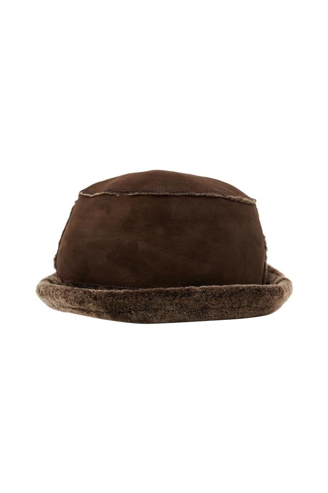 Brown Shearling & Brisa Wool Hat
