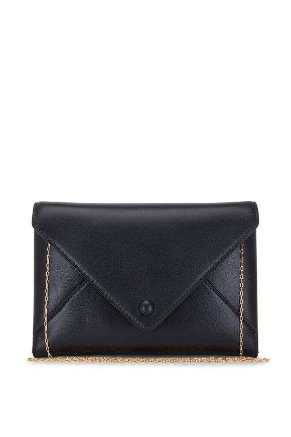 The Row Black Leather Envelope Crossbody Bag