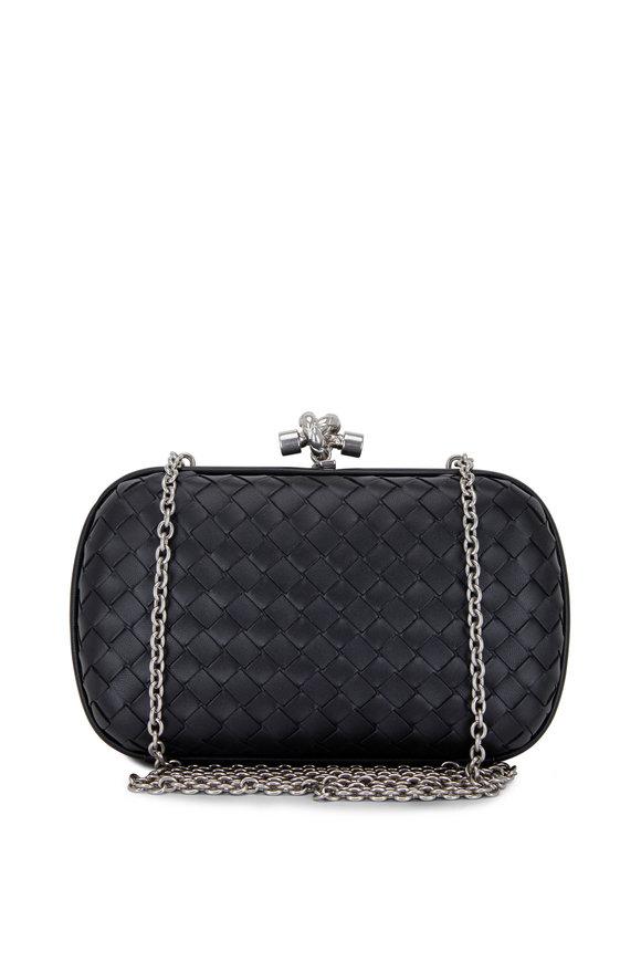 Bottega Veneta Black Intrecciato Leather Knot Clutch