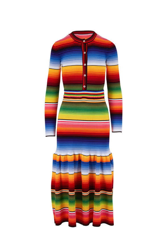 Carolina Herrera Multicolor Striped Henley Long Sleeve Dress