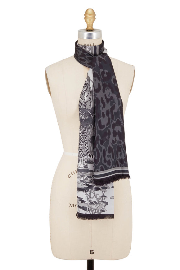 Rani Arabella Black & Grey Safari & Animal Print Silk Scarf
