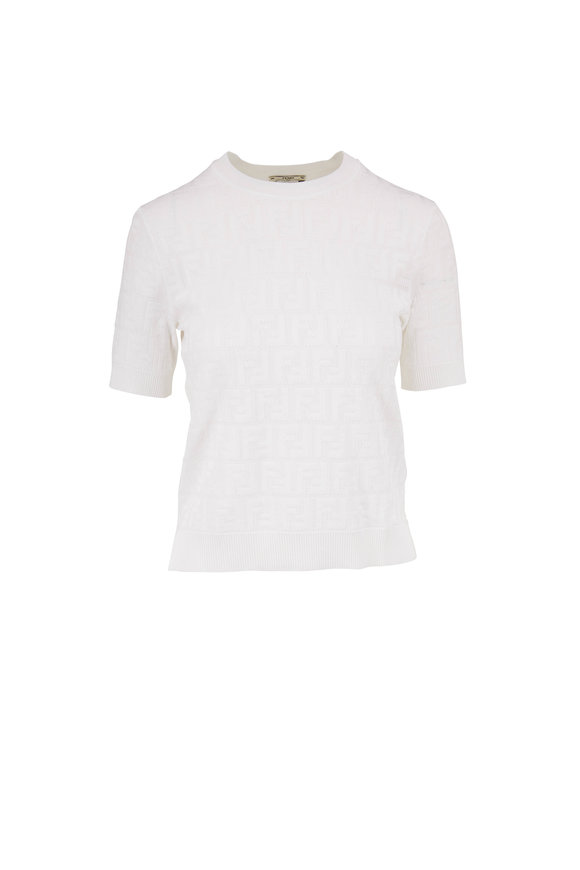 Fendi White Logo Knit Short Sleeve Top