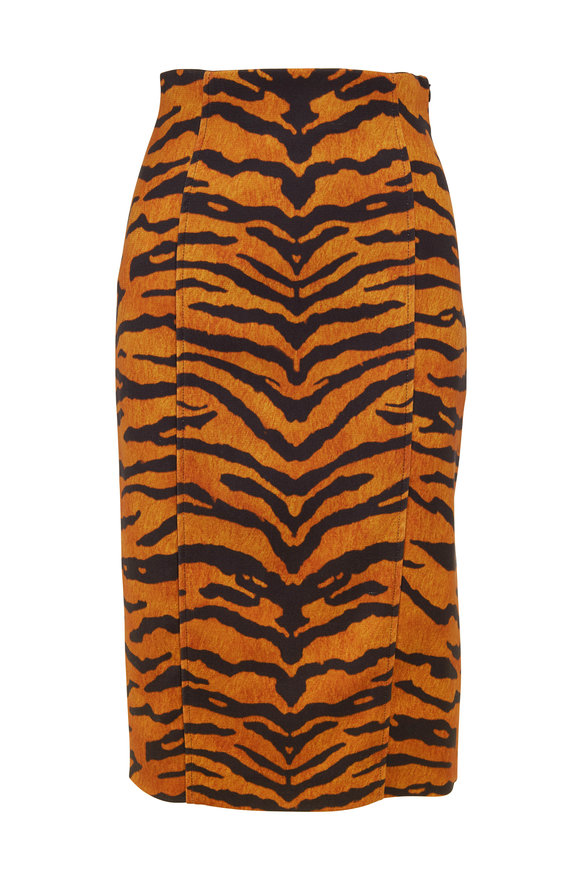 Adam Lippes Tiger Printed Pencil Skirt
