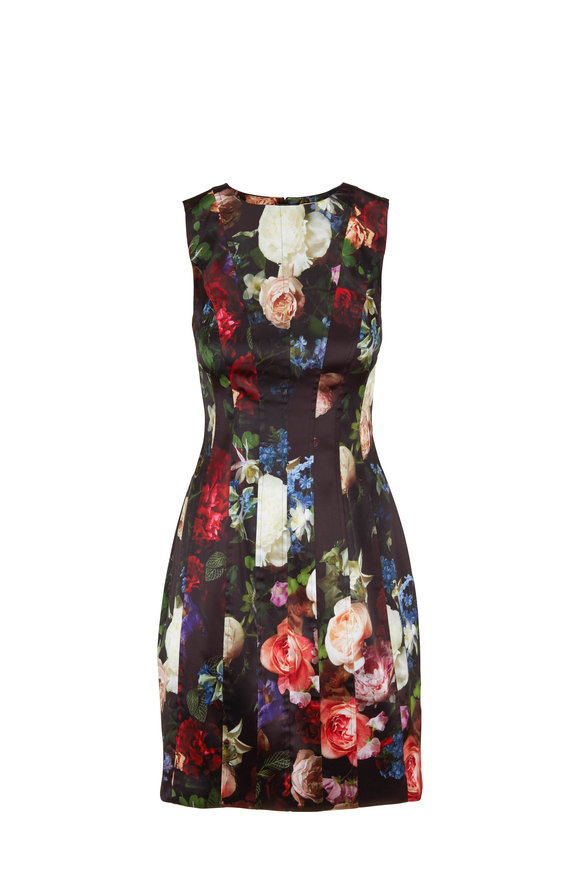Adam Lippes Multi Floral Stretch Satin Sleeveless Dress