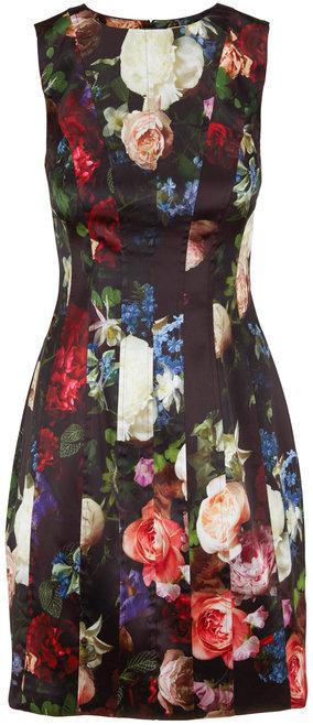 Adam Lippes Multi Floral Stretch Satin Sleeveless Dress