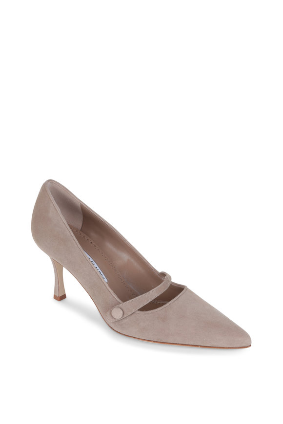 Manolo Blahnik Mladari Taupe Suede Mary Jane Pump, 70mm