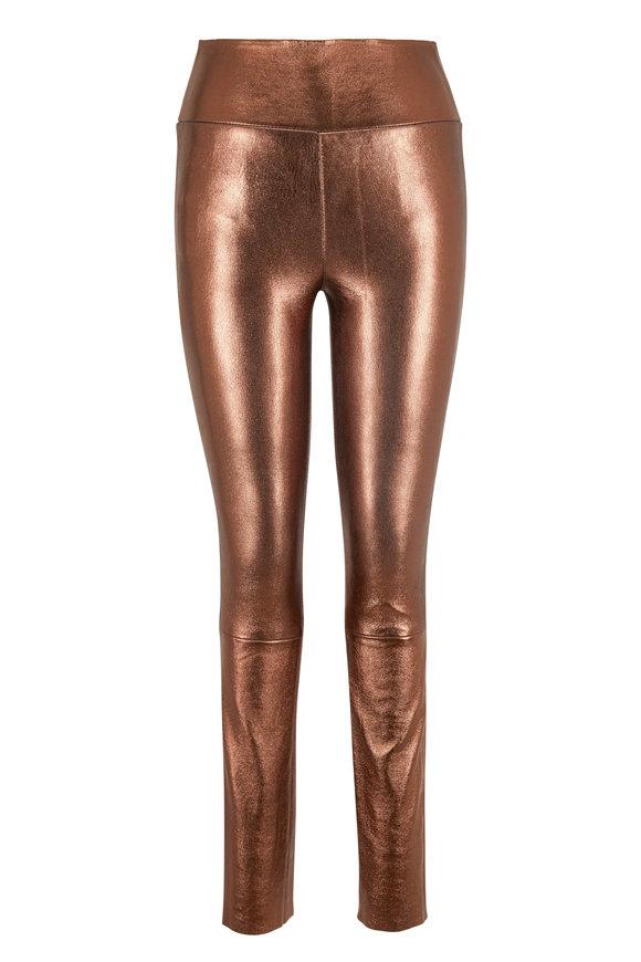 SPRWMN LLC Bronze Leather High-Rise Ankle Legging
