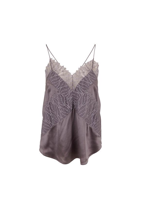 IRO Birma Grey Silk & Lace Racerback Cami