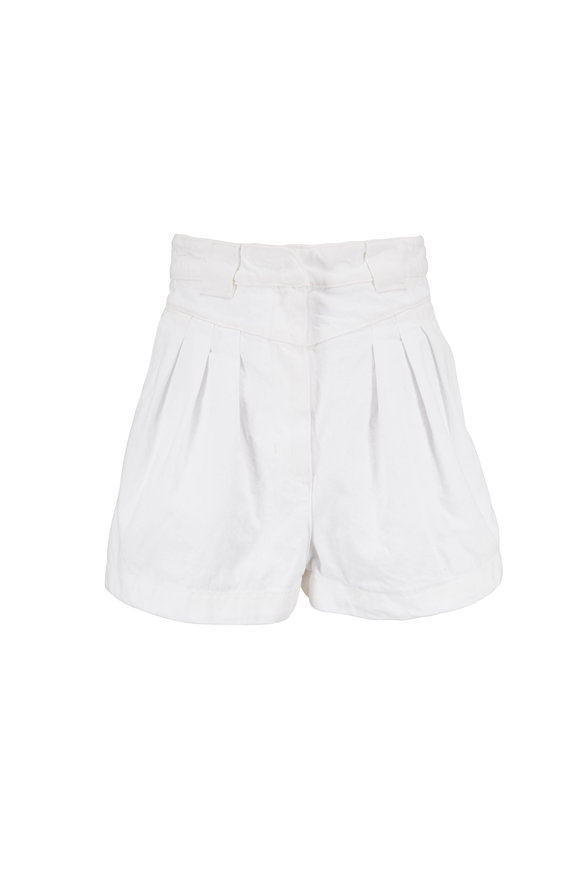 IRO Cluny White Cotton Pleated High-Rise Shorts