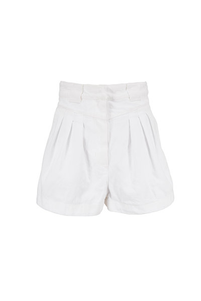 IRO - Cluny White Cotton Pleated High-Rise Shorts