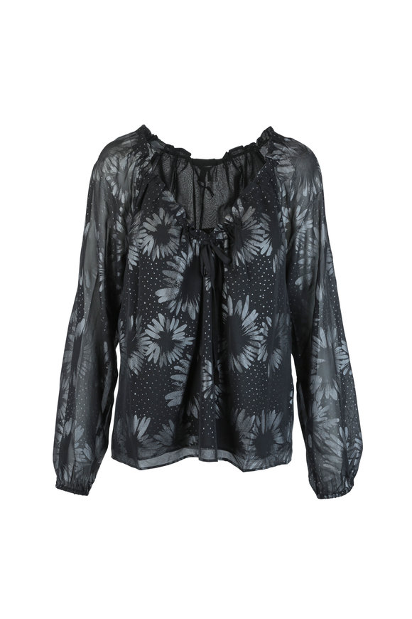 Paige Denim Alexius Black Metallic Floral Print Silk Blouse