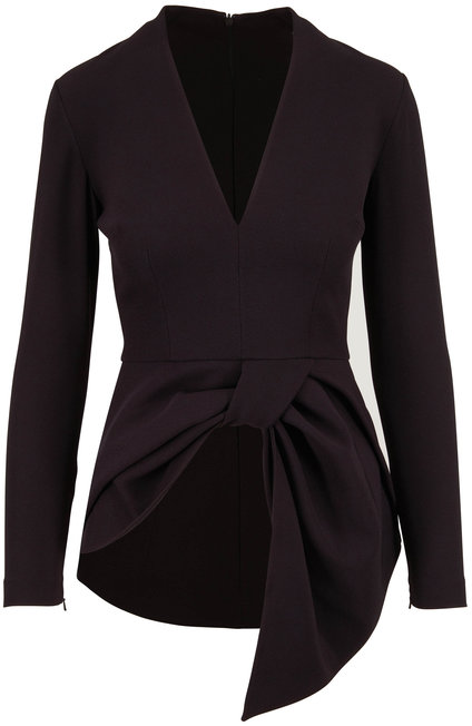 Safiyaa Black Front Knot V-Neck Blouse