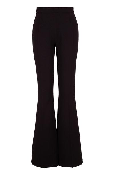 Safiyaa - Halluana Black Couture Crepe Side-Zip Pant