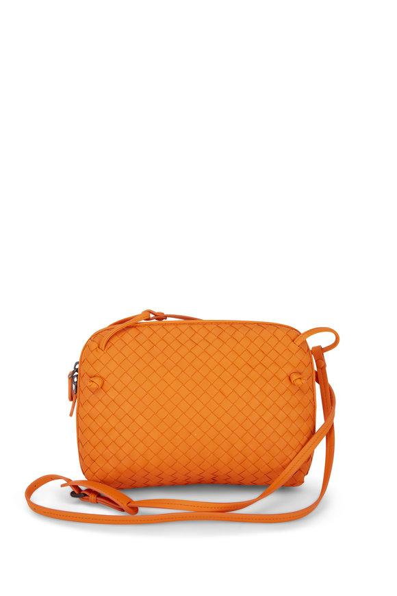 Bottega Veneta Nodini Orange Woven Leather Crossbody Bag