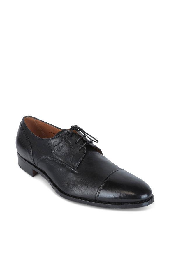 Gravati Black Leather Cap-Toe Derby Shoe