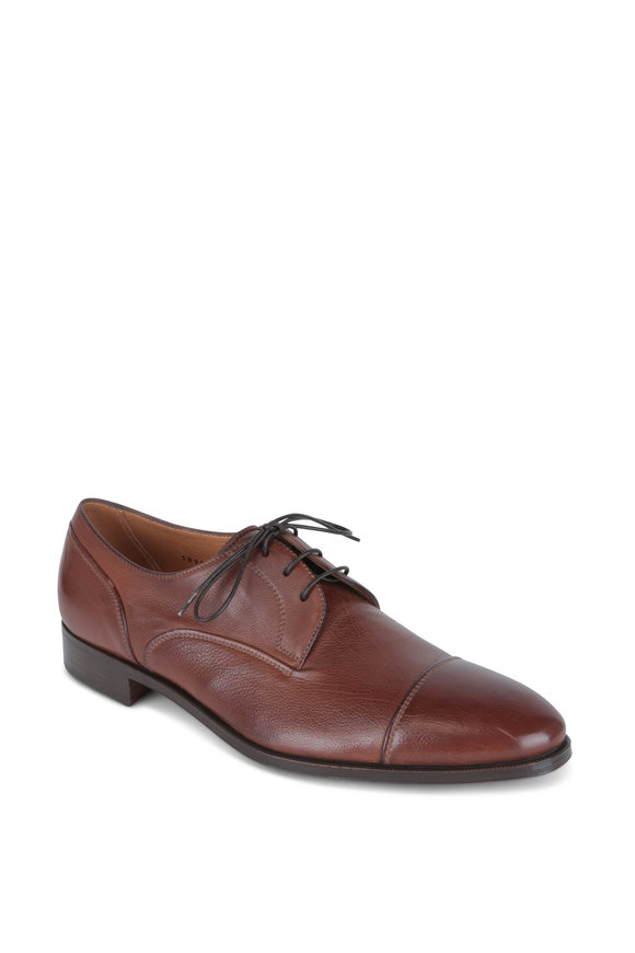 Gravati Tobacco Leather Cap-Toe Derby Shoe