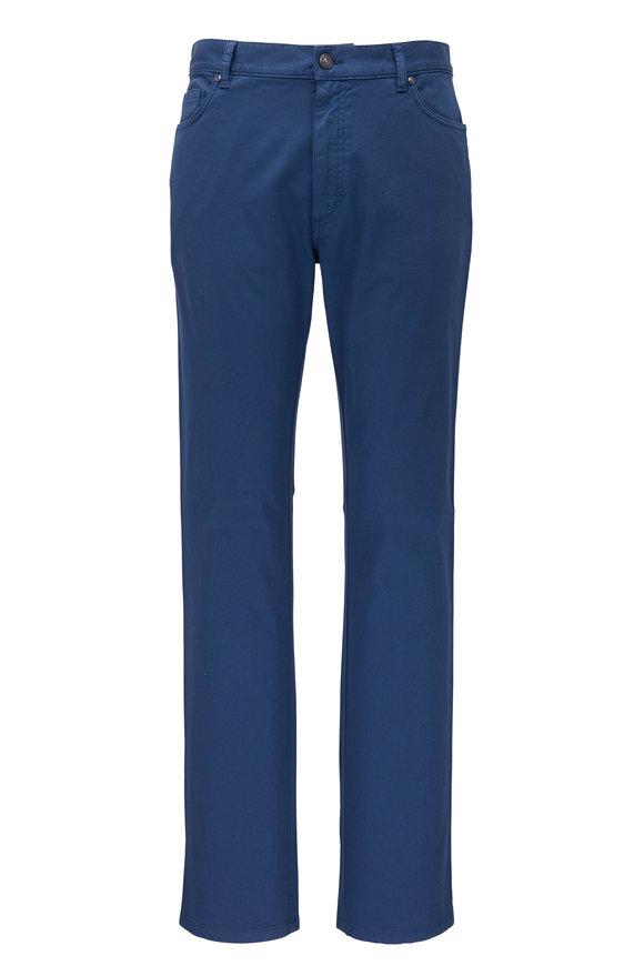 Ermenegildo Zegna Blue Canvas Five Pocket Pant