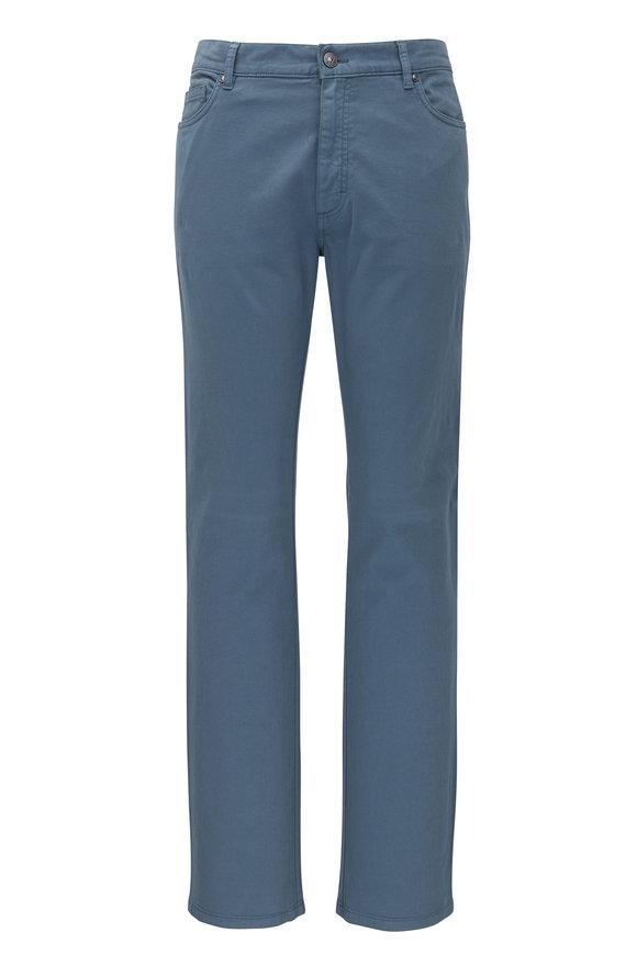 Ermenegildo Zegna Slate Blue Twill Five Pocket Pant