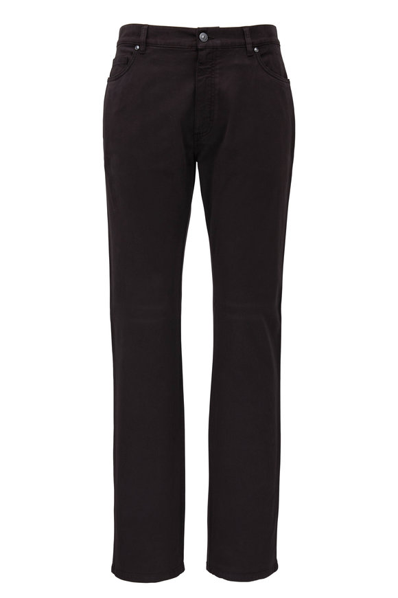 Ermenegildo Zegna Dark Brown Twill Five Pocket Pant