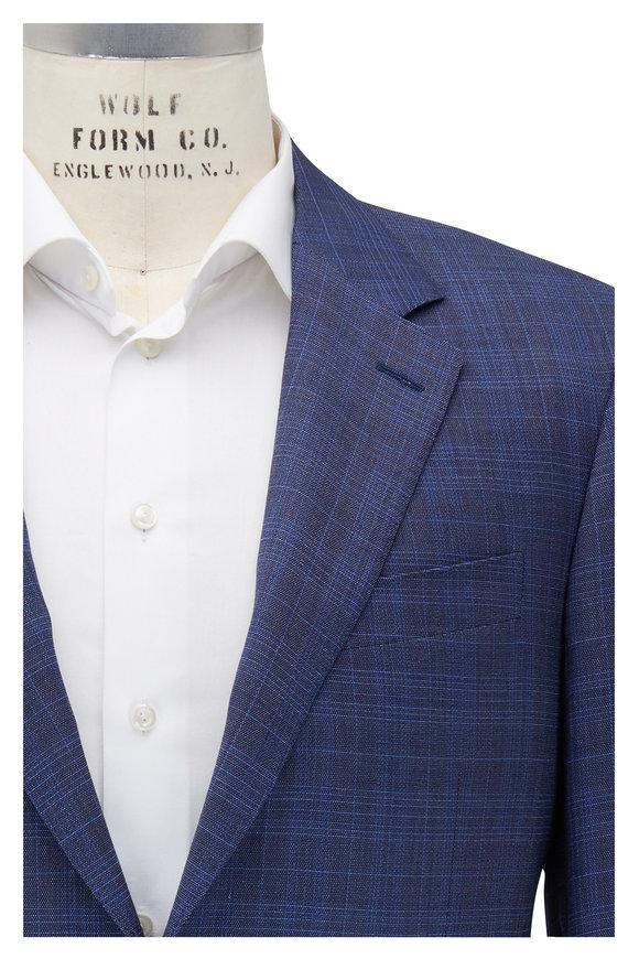 Canali Royal Blue Plaid Wool Suit