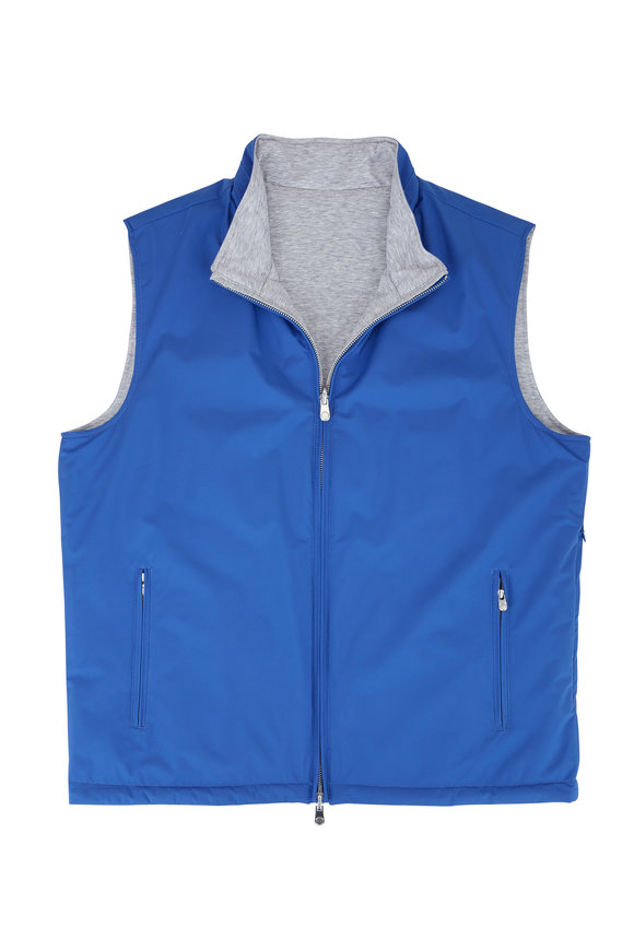 Peter Millar Blue & Gray Quilted Reversible Vest