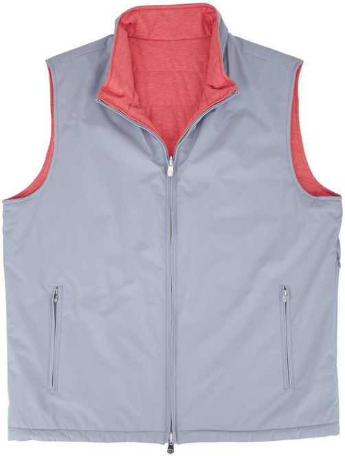 Peter Millar Gray & Red Quilted Reversible Vest