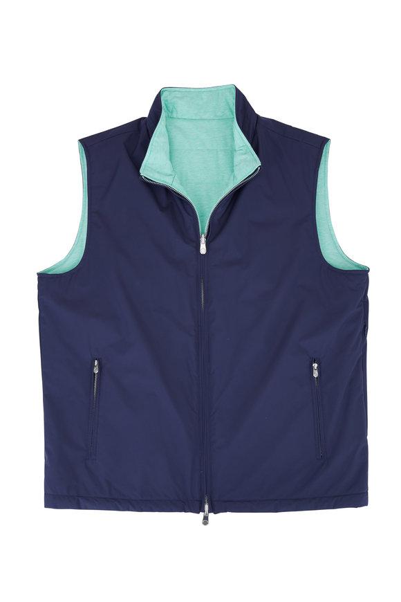Peter Millar Navy & Green Quilted Reversible Vest