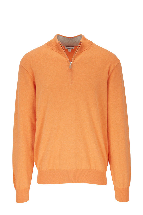 Peter Millar Orange Mock Neck Quarter-Zip Pullover