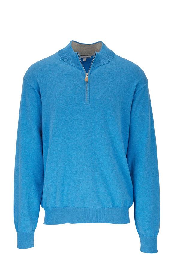Peter Millar Blue Cotton, Silk & Cashmere Quarter-Zip Pullover