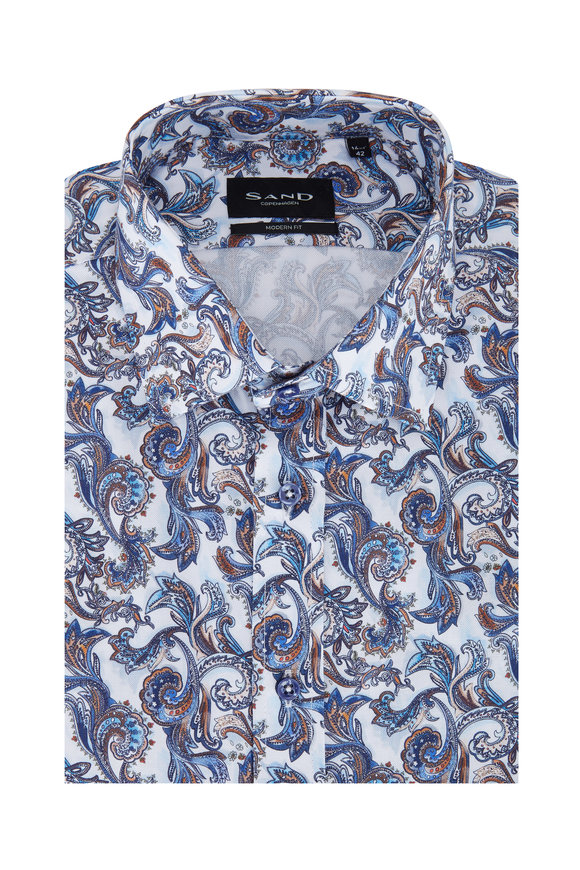 Sand Navy Blue Paisley Modern Fit Sport Shirt