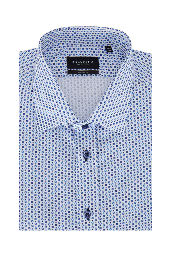 Sand Blue Dot Modern Fit Sport Shirt