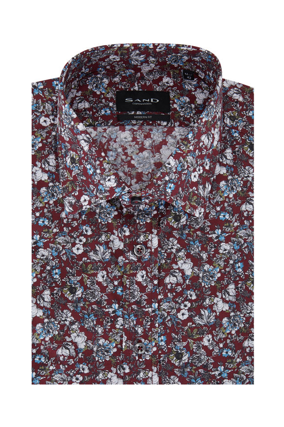 Sand Bordeaux Floral Modern Fit Sport Shirt