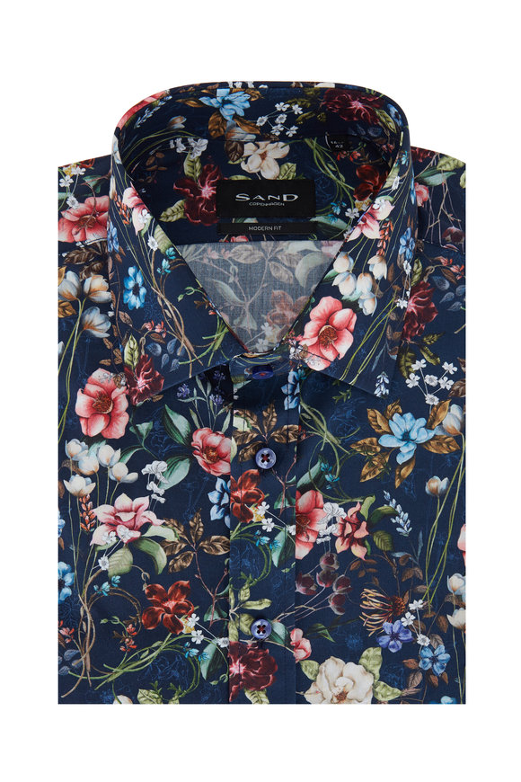 Sand Navy Blue Floral Modern Fit Sport Shirt