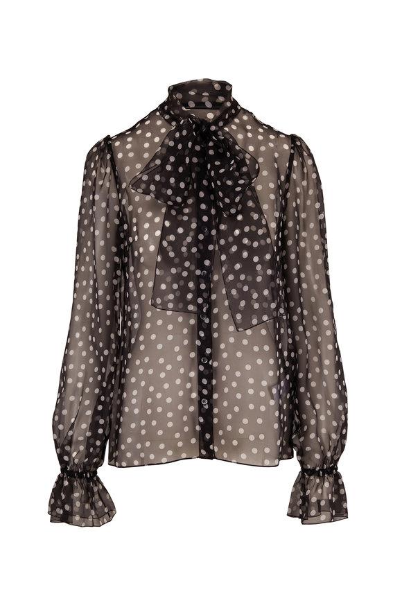 Dolce & Gabbana Black & White Polka Dot Organza Tie Neck Blouse