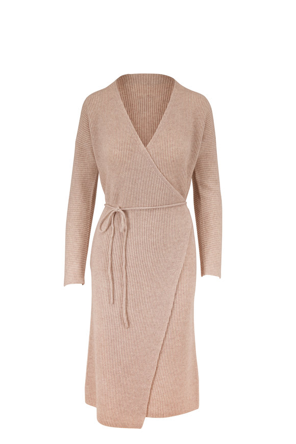Vince Marble Cashmere Ribbed Long Sleeve Wrap Dress